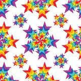 Nahtloses Muster der Sternstrahlnregenbogenfarbsymmetrie stock abbildung