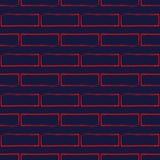 Nahtloses Muster der stilisierten Backsteinmauer, rot auf Marineblau Stockfoto