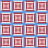 Nahtloses Muster der stilisierten weißen und roten Zelle auf einem blauen Hintergrund lizenzfreie stockbilder