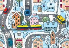 Nahtloses Muster der Straße. Winter Stockbild