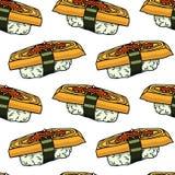 Nahtloses Muster der Sushi Lizenzfreie Stockfotografie