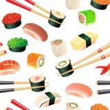 Nahtloses Muster der Sushi Stockfotos