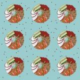 Nahtloses Muster der Sushischaumgummiringe mit Entwürfen Stockfoto