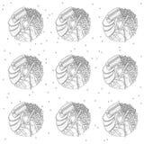 Nahtloses Muster der Sushischaumgummiringe in Schwarzweiss Farbtonseite vektor abbildung