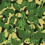 Nahtloses Muster der Tarnung mit Musikanmerkung Lizenzfreies Stockfoto