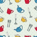 Nahtloses Muster der Tee- u. Kaffeezeit Stockfoto