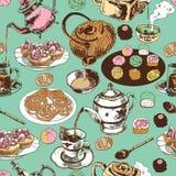 Nahtloses Muster der Teekanne und der Schale Stockfoto
