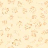 Nahtloses Muster der Teeparty entziehen Sie Hintergrund Stockbild