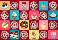 Nahtloses Muster der Teeschale und der kleinen Kuchen Stockbild