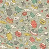 Nahtloses Muster der Teezeit mit Hand gezeichneten Gekritzelelementen Stockfotos