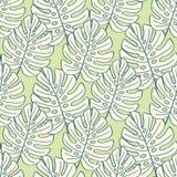 Nahtloses Muster der tropischen Blätter, moderne Hand gezeichnetes Naturlaub Lizenzfreies Stockbild