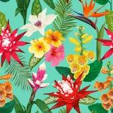 Nahtloses Muster der tropischen Blumen Sommer-Blumenhintergrund mit Tiger Lily Flower und Hibiskus Blühendes Design lizenzfreie abbildung