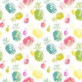 Nahtloses Muster der tropischen Früchte des Aquarells, bunte handgemalte Ananasfrüchte auf wite Hintergrund lizenzfreie abbildung