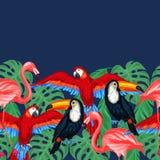 Nahtloses Muster der tropischen Vögel mit Palmblättern Stockbild