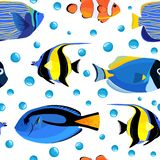Nahtloses Muster der unterseeischen Fische mit Blasen Kinderunterwasserhintergrund vektor abbildung