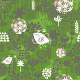 Nahtloses Muster der Vögel und der Blumen. Lizenzfreie Stockfotos