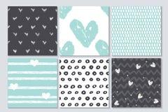 Nahtloses Muster der Valentinsgrüße, nette Vektorsammlung von 6 Karten Stockbilder