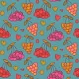 Nahtloses Muster der Vektorbeeren mit Herzen Endloser Hintergrund des Beerensommers Lizenzfreies Stockbild
