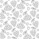 Nahtloses Muster der Vektorbeeren mit Herzen Endloser Hintergrund des Beerensommers Lizenzfreie Stockbilder