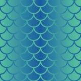 Nahtloses Muster der Vektorfischschuppe-Wiederholung in den Schatten der blauen Steigung Nahtloser Hintergrund der Meerjungfrauar lizenzfreie abbildung