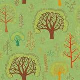 Nahtloses Muster der Vektorfrühlings-Bäume Lizenzfreie Stockfotos