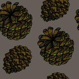 Nahtloses Muster der Vektorgekritzelkegel-Illustration in den braunen und gr?nen Farben lokalisiert auf grauem Hintergrund vektor abbildung