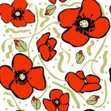 Nahtloses Muster der Vektormohnblume Stockfotos