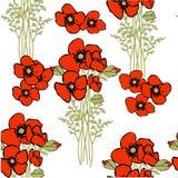 Nahtloses Muster der Vektormohnblume Stockfotografie