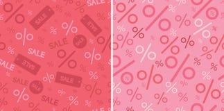 Nahtloses Muster der Verkaufs- und Prozentsatzzeichen zwei stock abbildung