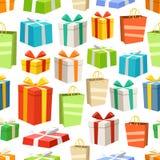 Nahtloses Muster der verschiedenen Farbgeschenkboxen Lizenzfreies Stockbild