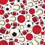 Nahtloses Muster der verschiedenen Sportbälle Farb Stockfotografie