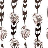 Nahtloses Muster der von Hand gezeichneten Feder der Tinte vektor abbildung