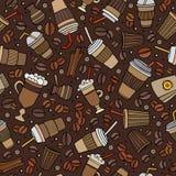 Nahtloses Muster der von Hand gezeichneten Kaffeestube der Karikatur Lizenzfreies Stockfoto