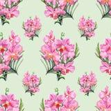Nahtloses Muster der von Hand gezeichneten Orchidee Stockfotografie
