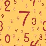 Nahtloses Muster der von Hand gezeichneten Zahlen, einfacher Hintergrund Stockfoto