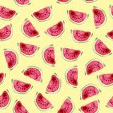 Nahtloses Muster der Wassermelone Hand gezeichnetes Aquarell Lizenzfreies Stockbild