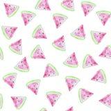 Nahtloses Muster der Wassermelonen Hintergrund mit Aquarellwassermelonenscheiben lizenzfreie abbildung