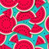 Nahtloses Muster der Wassermelonen von verschiedenen Formen und von Samen Lizenzfreie Stockfotografie