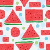 Nahtloses Muster der Wassermelonenscheibe Stockbild