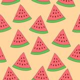 Nahtloses Muster der Wassermelonenscheibe Wiederholter Vektorbeschaffenheitshintergrund Lizenzfreies Stockbild