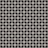 Nahtloses Muster der Webart Einfassungs-Hintergrund des schneidenen Streifen-Gitters Geometrischer Schwarzweiss-Vektor Lizenzfreies Stockfoto