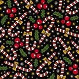 nahtloses Muster der Weihnachtselemente Lizenzfreie Stockfotografie