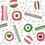 Nahtloses Muster der Weihnachtssüßigkeit Stockfoto