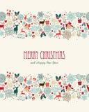 Nahtloses Muster der Weinlese der frohen Weihnachten Stockfoto