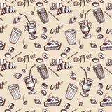 Nahtloses Muster der Weinlese des Kaffees und des kleinen Kuchens Stockfotos