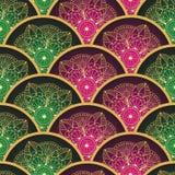 Nahtloses Muster der Weinlese mit den roten und grünen Kreisen Lizenzfreie Stockfotografie