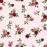Nahtloses Muster der Weinlese mit den roten und rosa Rosen. Vektorillustration. Lizenzfreie Stockfotos