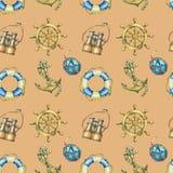 Nahtloses Muster der Weinlese mit den Seeelementen, lokalisiert auf braunem Hintergrund Altes binokulares, Rettungsring, antike S Stockfoto