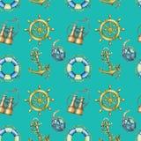 Nahtloses Muster der Weinlese mit den Seeelementen, lokalisiert auf Türkishintergrund Altes binokulares, Rettungsring, antiker Se Stockbilder