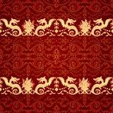 Nahtloses Muster der Weinlese mit Drachen Stockbilder